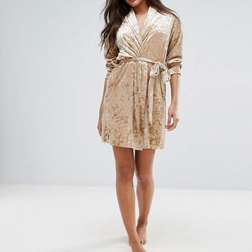 Chelsea Peers Rose Gold Velvet Robe at asos.com