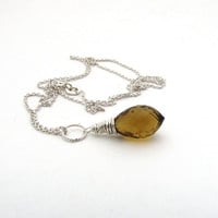 Honey quartz necklace, honey quartz pendant, sterling silver wire wrapped necklace, beer quartz necklace, golden quartz pendant