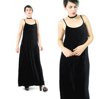 90s Crushed Velvet Maxi Dress Black Velvet Dress Velvet Sleeveless Dress Minimalist Goth Spaghetti Strap Black Velvet Evening Dress (M)