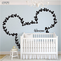 Wall decals Mickey Mouse & PERSONALIZED BABY NAME by decalsmurals