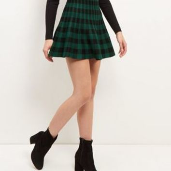 Green Check Skater Skirt