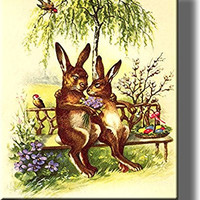 Mr. and Mrs. Easter Bunny Picture on Stretched Canvas, Wall Art Decor, Ready to Hang!