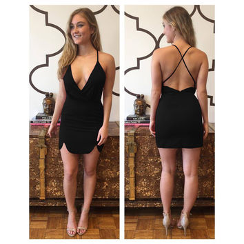 Black Plunging Cross-back Asymmetric Mini Dress