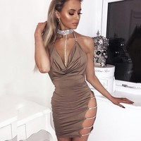 Summer New Fashion Solid Color Diamond Straps Dress Women  Khaki