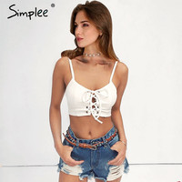 Lace up bow camisole tank top Sexy hollow out unadjustable straps bustier crop top Women casual summer 2017 tube top