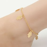 Hollow Flower Dragonfly Leaf Chain Anklet Beach Bracelet