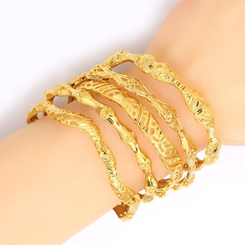 New arrival Fives style/ Ethiopian bracelets Women18K Gold Plated Dubai Bride Wedding Bracelet Africa Bangle Arab Jewelry B023B