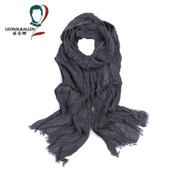Men's Scarf Fashion Plaid Striped Cotton Scarves for Men