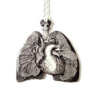 Anatomical Lungs & Heart Necklace Anatomy Black and White Vintage Illustration Medical Statement Jewlery Anatomically Correct