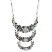 Silver & Turquoise Bead Crescent Long Necklace