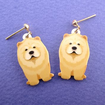 Adorable Chow-Chow Fluffy Lion Puppy Shaped Stud Drop Earrings for Dog Lovers
