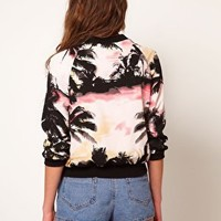 River Island Palm Tree Bomber at asos.com