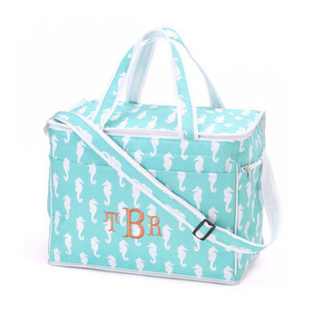 Aqua Seahorse Cooler Bag Insulated Tote - Monogrammed Personalized Beach Pool