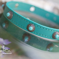 Turquoise Leather Collar With Conchos
