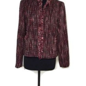 Reitmans Womens Stylish Pink Black Burgundy Boucle Jacket Size 15