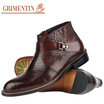 GRIMENTIN men boots genuine leather Italian black brown luxury fashion casual ankle boots men shoes male for wedding business