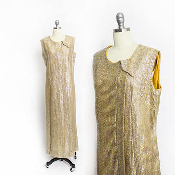 Vintage 1960s Dress - Gold Lame Metallic Full Length Sleeveless Column Gown - XL / Large