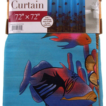 "Fish Fabric Shower Curtain Water Repellent 72"" x 72"" Blue Shells Sand Plants"