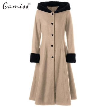 Gamiss New Gothic Winter Coat Women Wool Long Slim Lace Up Longline Hooded Coat Tops Fashions Gothic Style Solid Woman Clothes