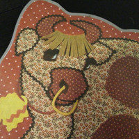 2 Sided Laminate Place mat For Kids - Monkey on one side Cow on the other