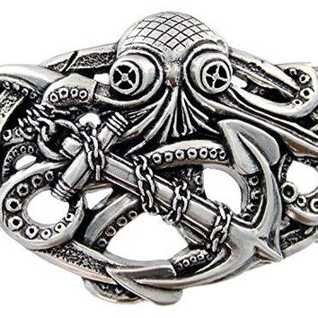 Punk Pirate Octopus Kraken Boat Anchor Antique Silver Belt Buckle