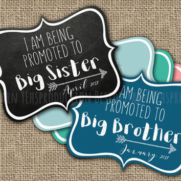 I am Being Promoted To Big Sister (Brother) Sign Pregnancy Announcement Photo Prop, Maternity Photography, Pregnancy Photo Prop Chalkboard