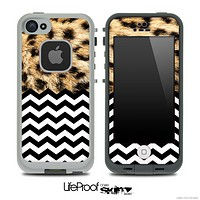 Mixed Real Cheetah and Chevron Pattern Skin for the iPhone 5 or 4/4s LifeProof Case