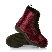 Dr Martens Marvel Crushed Velvet Boots - Cherry Red