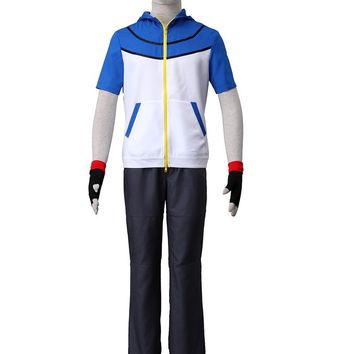 Pocket Game COS Pokemon Ash Ketchum Cosplay Costume with Gloves and Vest Hat Uniform Adult Unisex