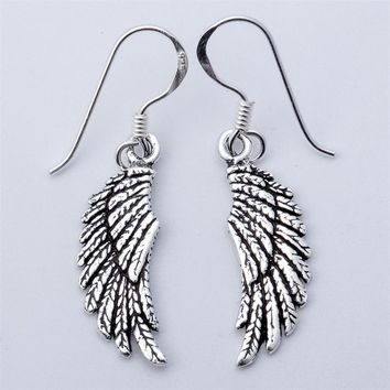 SHIPS FROM USA 925 Sterling Silver Angel Wings Dangle Drop Earrings Biker Jewelry Gifts for Women Wife Her Girlfriend Girls YCE03