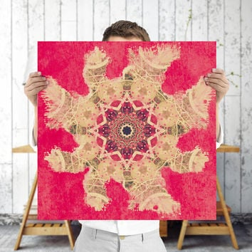 Art Nouveau Mandala Poster - Red Indie Wall Art, Digital Download | Mystical Bohemian Decor Art by Mila Tovar