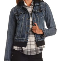 Layered & Hooded Denim Jacket by Charlotte Russe