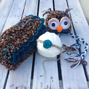 Photography Prop, Photo Prop, Crochet Blanket, Newborn, Baby, Tieback, Headband, Owl, Hat, Beanie, Baby Headband, Owl Hat, Baby Owl Hat