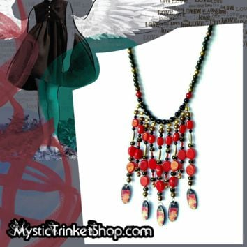 Black and Red Boho Bib Necklace