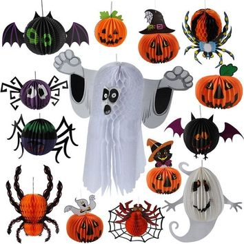 Halloween Decoration Pumpkin Ghost Bats Pendant Halloween Party Decoration For Home Props Tissue Paper Ball Hanging Ornament