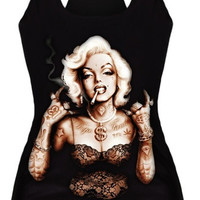 New Summer Digital Smoking Print Tank Tops Sexy Gothic Punk Clubwear Camisole Tees Bodysuit (Size: M, Color: Black) = 1956702468