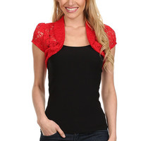 Floral Lace Shrug Top - Red - Reg Size - 1X