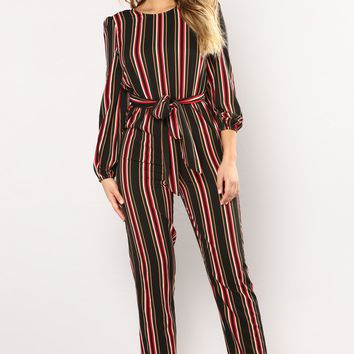 Stripe That Down Jumpsuit - Black Multi
