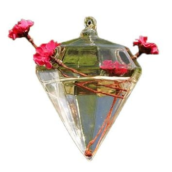 New Clear Glass Diamond Shape Flower Plant Stand Hanging Vase Hydroponic Container Wedding Christmas Home Decoration Accessories