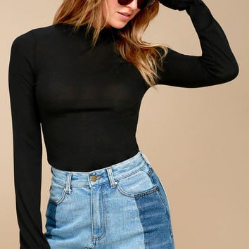 Free People Out of Sight Black Long Sleeve Mock Neck Top