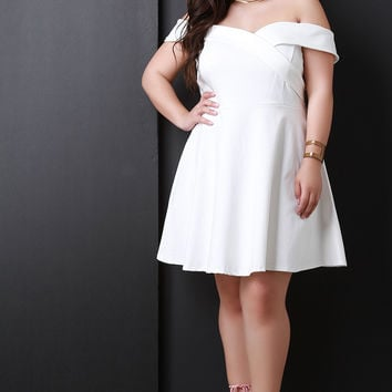 Fold Over Bardot Sweetheart Fit And Flare Dress