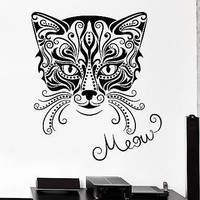 Wall Decal Animal Cat Pets Kitty Meow Vinyl Decal Unique Gift (z3148)