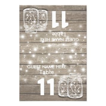 Wedding Seating Place Table Number Mason Jar Light Card