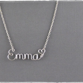 Emma Wire Word Name Pendant Necklace