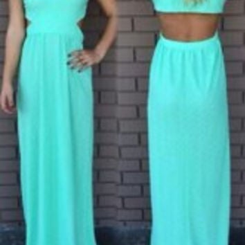 Green Deep V-Neck Cut-Out Chiffon Maxi Dress