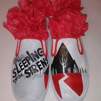 0871b408c3 ... (NOT VANS BRAND). InsidiousApparel InsidiousApparel on Etsy  65.00. Custom  Hand Painted Sleeping With Sirens Slip on Shoes