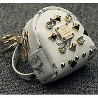 MCM Rhinestone rivets purse car key bag pendant mini backpack White