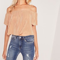 Missguided - Crinkle Bardot Crop Nude