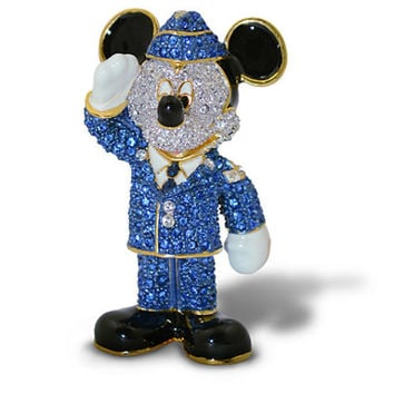 Disney Parks Mickey Mouse Air Force Jeweled Figurine by Arribas Brothers New with Box