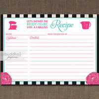 Aqua Pink Bloom Recipe Card INSTANT DOWNLOAD Shabby Chic Black Stripe Bridal Shower 4x6 DIY Printable or Printed Fill-In Recipe- Madison